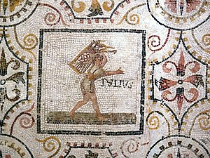 Quintilis - July panel from a Roman mosaic of the months (from El Djem, Tunisia, first half of 3rd century AD)