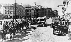 Invasion of Poland - Red Army enters the provincial capital of Wilno during the Soviet invasion, 19 September 1939