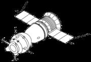 Apollo-Soyuz Test Project (ASTP) Soyuz. The APAS-75 docking unit is located at left.