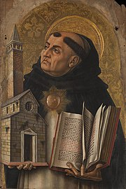Depiction of St. Thomas Aquinas from The Demidoff Altarpiece by Carlo Crivelli