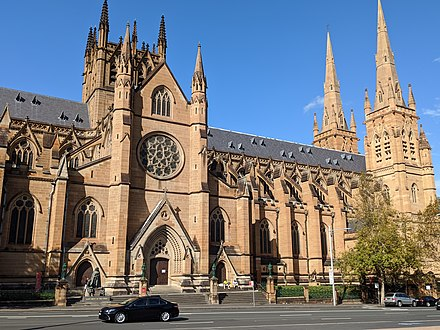 St Mary's Cathedral, is the cathedral church of the Roman Catholic Archdiocese of Sydney. StMarysSydneyCathedral.jpg