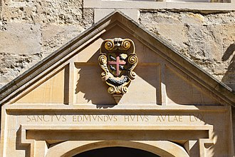 St Edmund Hall, Oxford - Coat of Arms sculpture above the entrance to the Porters' Lodge