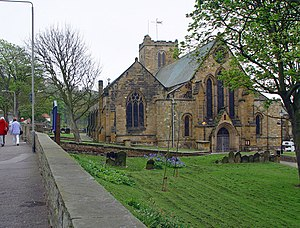Ewan Christian - St. Mary's Church, Scarborough, one of Ewan Christian's first church restorations of 1848–52. He rebuilt the outer north aisle (on the left of the picture) and restored the west front (shown) to its present appearance.