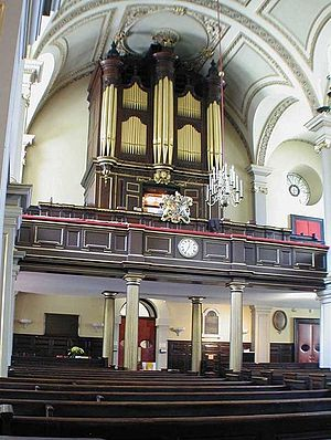 St Giles in the Fields - The West side of the interior, showing the organ.