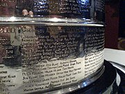 A close-up view of the engraving for the 2001 champion Colorado Avalanche