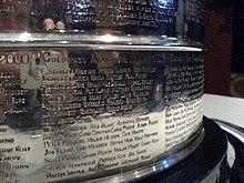 Photo en gros plan des noms des joueurs de l'Avalanche du Colorado gravés sur la Coupe Stanley.