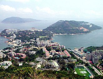 Po Toi Islands - View of Stanley Peninsula in the southeast of Hong Kong Island. On the left, Beaufort Island and Po Toi Island (behind Beaufort), are visible.