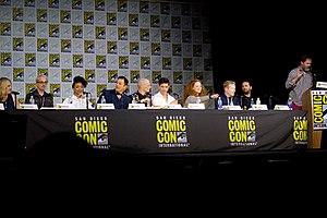 Gretchen J. Berg - Gretchen J. Berg (far left) in Star Trek: Discovery panel at San Diego Comic-Con 2017