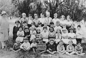Yarraman Creek Grade One pupils with teacher, ...