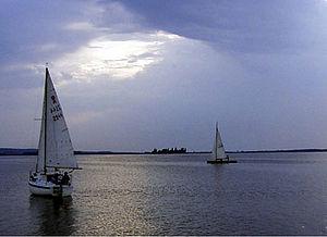 Steinhuder Meer vom Südufer mit Insel Wilhelmstein