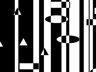 Stencil buffer - In this image, there are white regions and black regions, representing 1s and 0s in the stencil buffer respectively. Shapes are then drawn on top of the stripes by inverting the value of the stencil buffer. If the buffer at that pixel has a value of 0 (black), color the pixel white (1) and vice versa.