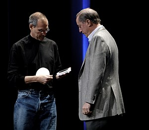 Steve Jobs presented Intel CEO Paul Otellini w...