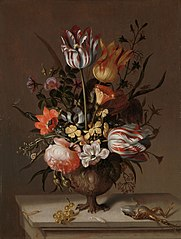 Still Life with a Vase of Flowers and a Dead Frog