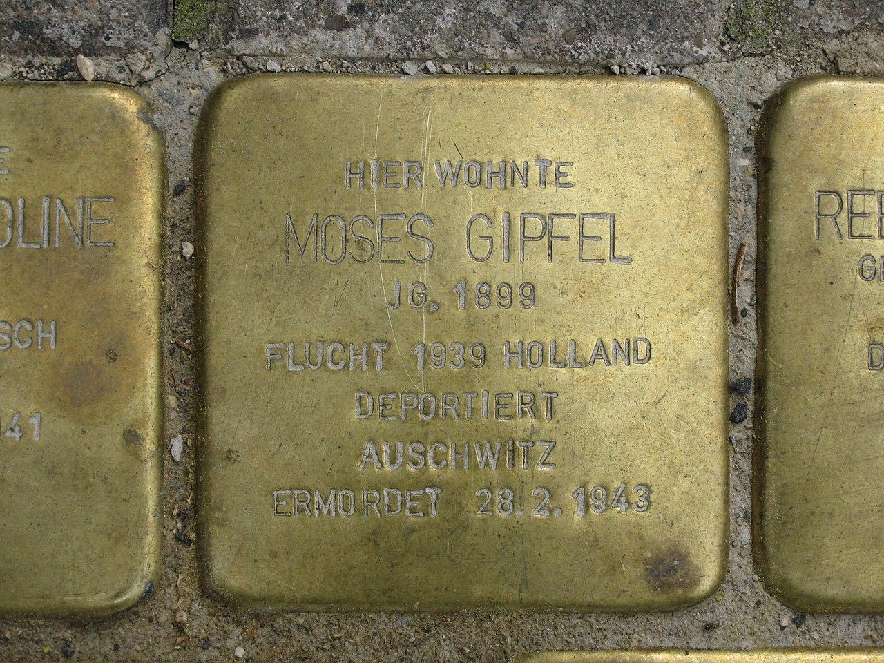 Stolperstein Moses Gipfel, 1, Untere Königsstraße 86, Wesertor, Kassel.jpg
