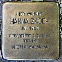 Photo of Hanna Zadek brass plaque