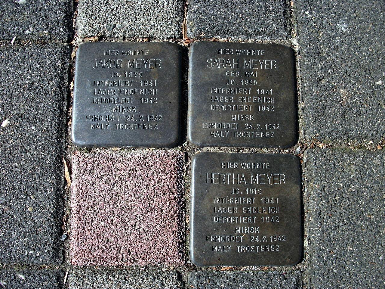 Stolpersteins Jakob Meyer, Sarah Meyer, Hertha Meyer Crossing Euskirchener Straße 52, Theodor-Litt-Straße Bonn.JPG