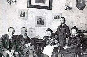 Stravinsky and Rimsky-Korsakov (seated together on the left) in 1908 (Source: Wikimedia)