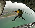 Submariners from the Fort Blockhouse Submarine Escape Training Tank (SETT) parachuted 800 feet from a Hercules C130 into the sea at Lee-on-Solent, Hampshire, as part of Exercise Leesplash. MOD 45146202.jpg