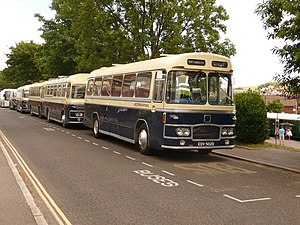 Associated Motorways - Four preserved Royal Blue coaches in Swanage in June 2009