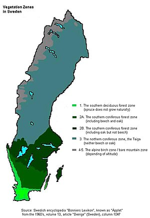 Sweden Vegetation Zones