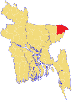 Location of Sylhet in Bangladesh