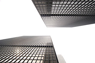 Toronto–Dominion Centre - Between the TD Bank Tower and TD North Tower, showing the one-bay offset between the two