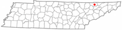 Location of Tazewell, Tennessee