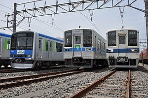 Tobu Urban Park Line - A lineup of Tobu Urban Park Line rolling stock at the line's Nankodai Depot, June 2013
