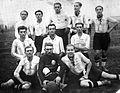 Tableau, soccer team, men, soccer ball, football Fortepan 26639.jpg