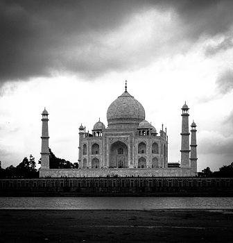 Taj Mahal from Mehtab Bhag, Monsoon Dusk.jpg