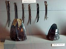 Six long, thin blades of dark volcanic glass, suspended vertically in a display cabinet. In front of them are two angular pieces of dark, shiny stone.