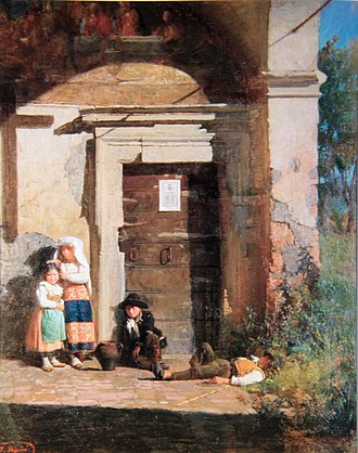 Josep Tapiró Baró - Children Under the Porch, from his time in Rome.