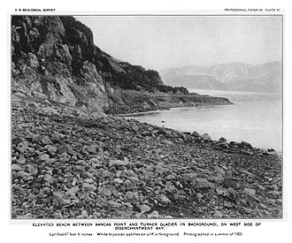 1899 Yakutat Bay earthquakes - A raised beach in an area of Yakutat Bay, Alaska, uplifted by 47 feet in the 1899 earthquakes. The white patches on the cliff in the foreground are the remains of bryozoa, which would have been in the inter-tidal zone when alive.