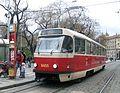 Tatra T3R.P 8455 at the main train station - line 5 in Prague.JPG