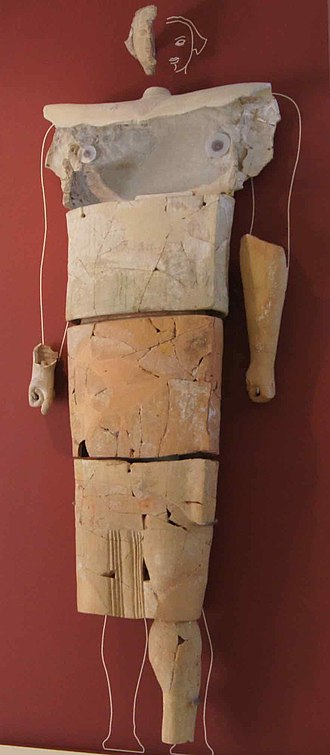 Marion, Cyprus - Over-life size (3m tall) terracotta statue from Marion temple of Zeus and Aphrodite, late 6th-early 5th c. BC