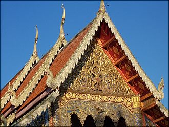 Thai temple art and architecture - Roof and gable of the main viharn of Wat Phra Singh in Chiang Mai