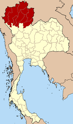 Northern Thailand - Map of Thailand highlighting the provinces of the northern region in the six-region system