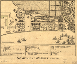Battle of Manila (1762) - Map depicting where the British landed in Manila with the assault from the south