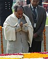 The Defence Minister, Shri A. K. Antony paying homage at the Samadhi of Mahatma Gandhi on the occasion of Martyr's Day at Rajghat, in Delhi on January 30, 2008.jpg