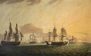 HMS Sceptre (1781) - General Goddard, HMS Sceptre, and Swallow capturing Dutch East Indiamen, by Thomas Luny; National Maritime Museum