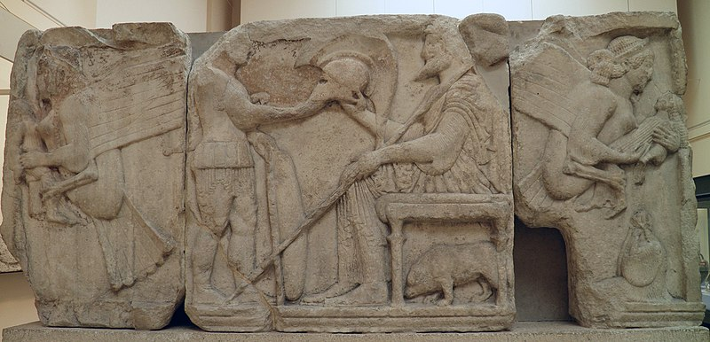 File:The Harpy Tomb reliefs, north side, a warrior offers his helmet to a bearded man on a stool, at either end a harpy carrying a human figure, about 480 BC, Xanthos, British Museum, London (8814932419).jpg