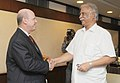 The Minister for Tourism & Culture of Seychelles, Mr. Alain St. Ange meeting the Union Minister for Civil Aviation, Shri Ashok Gajapathi Raju Pusapati, in New Delhi on August 04, 2014.jpg
