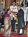 The President, Shri Pranab Mukherjee presenting the Padma Shri Award to the wife of Shri Pran Kumar Sharma (Posthumous), at a Civil Investiture Ceremony, at Rashtrapati Bhavan, in New Delhi on March 30, 2015.jpg