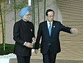 The Prime Minister, Dr. Manmohan Singh being received by the Prime Minister of Japan, Mr. Yasuo Fukuda on his arrival to attend the major economies leaders meeting during the G-8 summit, in Hokkaido, Japan on July 09, 2008 (1).jpg