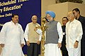 The Prime Minister, Dr Manmohan Singh lighting the lamp to inaugurate the Conference on `Empowerment of Scheduled Castes, Schedules Tribes and Minorities through Elementary Education', in New Delhi on May 17, 2007.jpg
