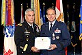 The Vice Chief of Staff of the U.S. Army Gen. John F. Campbell, left, presents the distinguished service medal certificate to Air Force Maj. Gen. Timothy A. Byers, right, the Civil Engineer, Headquarters U.S 130621-A-WP504-098.jpg