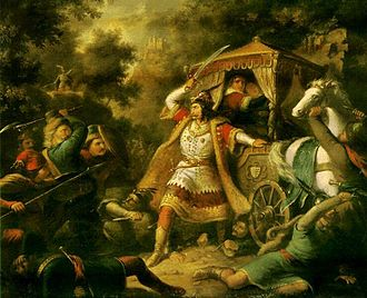 Mary, Queen of Hungary - Nicholas Garai defending his sovereign Mary and her mother Elizabeth from the Croatians. By Mihály Kovács.