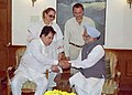 The noted film actors Dilip Kumar and Saira Banu calling on the Prime Minister, Dr. Manmohan Singh in New Delhi on March 24, 2005.jpg
