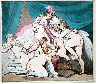 Gang bang - Artist Thomas Rowlandson's, hetaeras in the harem