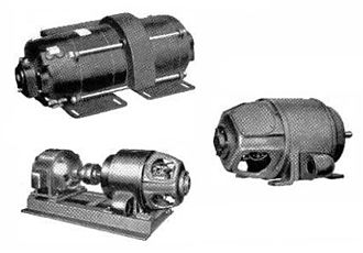 Amplidyne - Three amplidynes, from a 1951 General Electric advertisement (not to same scale). (top left) 1 kW amplidyne motor-generator, (bottom left) 3 kW amplidyne motor-generator, (right) 5 kW amplidyne generator.